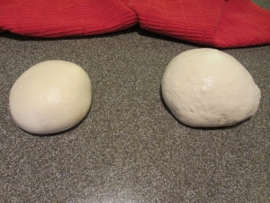 Dough side-by-side:  original dough on the left.