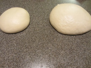 New dough on the right.
