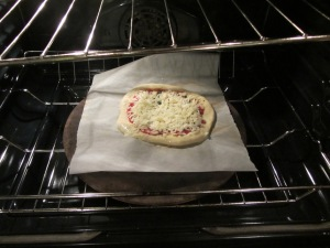 Pizza in the oven.