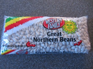 1 lb of dried Great Northern beans.