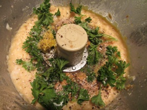 Peanut butter, parsley, lemon juice, lemon zest, black pepper, and Kosher salt added to beans.
