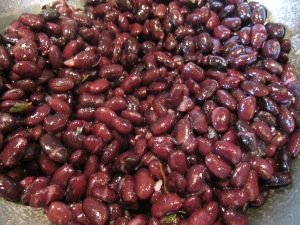 Beans tossed with lime juice and olive oil.