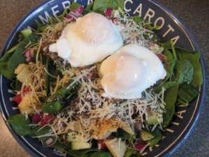 Poached eggs over a lunch salad.