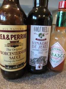 Marinade ingredients:  Worcestershire sauce, Tabasco sauce, and sherry vinegar.