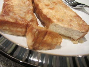 Pan-fried tofu fillets.