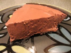 Dense tofu chocolate pie.