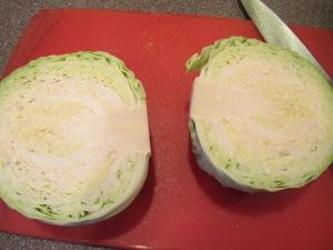 Cabbage cut into halves.