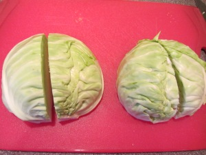 Cabbage cut into quarters.