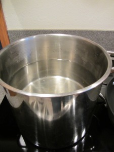 Big pot of water over high heat.