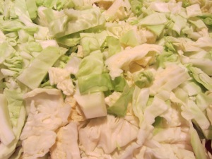 Shredded cabbage.
