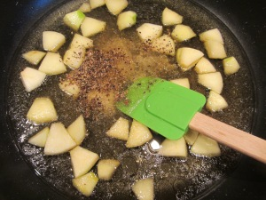 Caraway seed, Kosher salt, and black pepper added to the apple mixture.