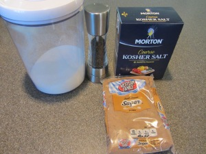Ingredients for salmon cure:  sugar, Kosher salt, dark brown sugar, and black peppercorns.