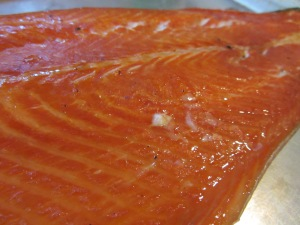 Close-up of finished salmon.