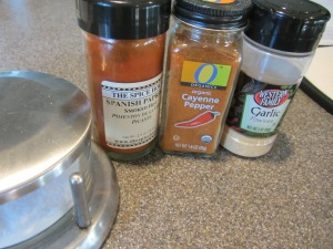 Ingredients for spice blend:  Kosher salt, garlic powder, paprika, and cayenne pepper.