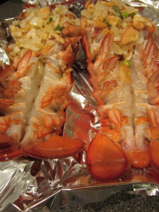 Lobsters, ready for the oven. Tails brushed with olive oil.