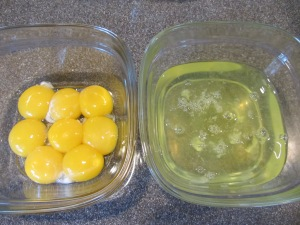 Separating yolks and whites.