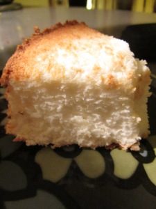 A slice of angel food cake.