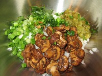 Cooked rice, sauteed mushrooms, dill pickle relish, scallions, parsley, salt, and pepper.