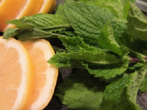 Fresh mint and lemon to flavor simple syrup.
