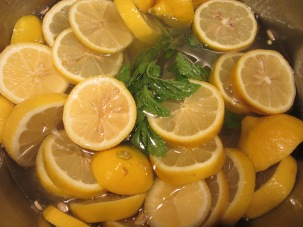 Lemons and mint added to 5 C sugar and 3 C water.