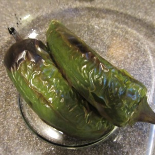 Roasted and steamed jalapenos, ready for their skin to come off.