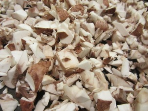 Mushrooms - half sliced and half finely diced.