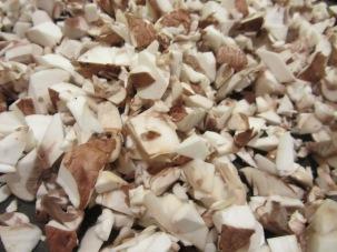 Mushrooms - half sliced and half finely diced.