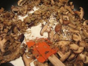 Milk added to mushrooms.