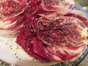 Radicchio seasoned with salt and pepper.