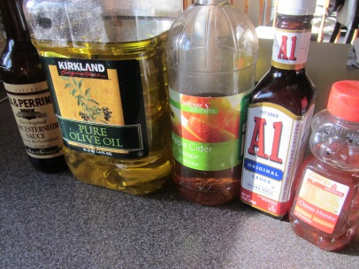 Additional ingredients for Alton's eggplant steaks: Worcestershire sauce, olive oil, cider vinegar, steak sauce, and honey.