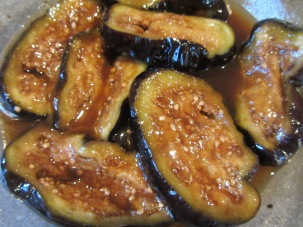 Coated eggplant slices.