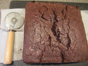 Brownies, removed from pan immediately after coming out of oven.
