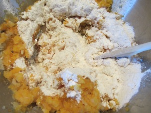 A half cup of flour, added to mashed squash and potatoes.