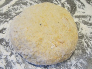 Dough, turned out onto a floured surface.