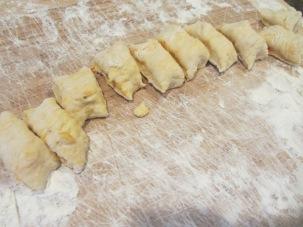 Dough, cut into bite-sized pieces.