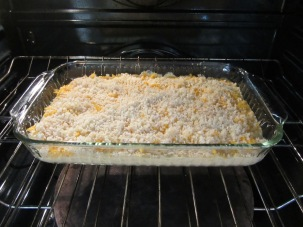Buttered panko sprinkled over mac and cheese, and into the oven for 30 minutes.