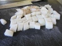 Cod, cut into pieces.