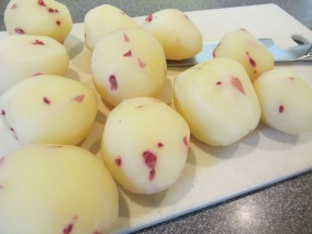 Peeled potatoes.