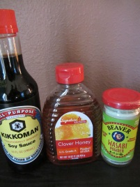 Soy sauce, honey, and wasabi powder for the marinade/dipping sauce.