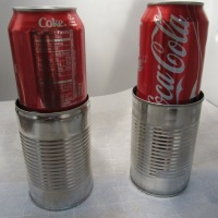 Full sodas placed on top of lids. Cans placed in refrigerator for 8 hours.