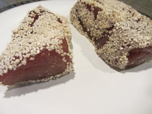 Marinated tuna, rolled in sesame seeds.