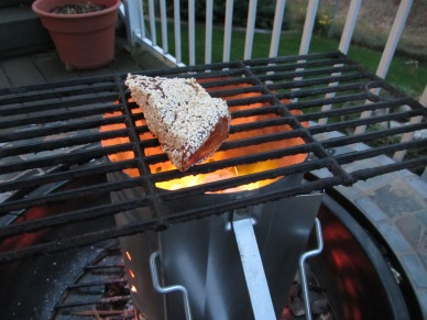 Tuna searing on oiled grate for ~30 seconds/side.