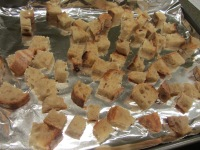 Bread cubes, left to dry overnight.