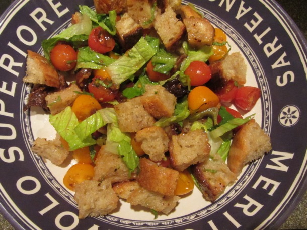 A bowl of Alton's panzanella.