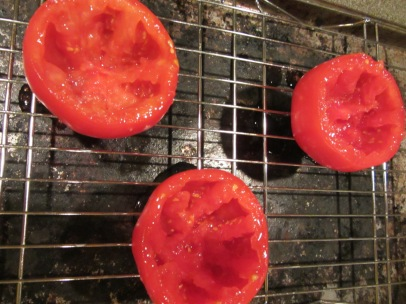 Tomato shells after draining for 15 minutes.