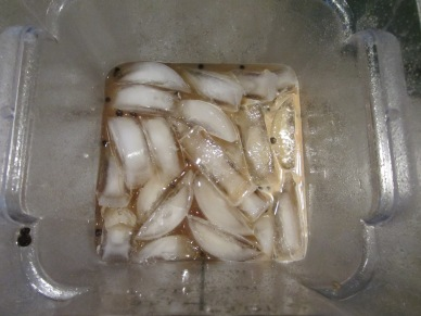 A pound of ice added to the brine.