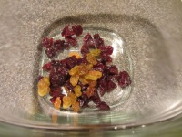 Dried cherries and golden raisins.