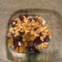 Dried cherries, golden raisins, and walnuts.