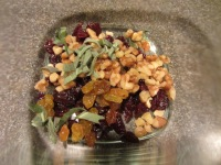 Dried cherries, golden raisins, walnuts, and fresh sage.