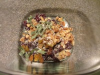 Dried cherries, golden raisins, walnuts, fresh sage, Kosher salt, and pepper.